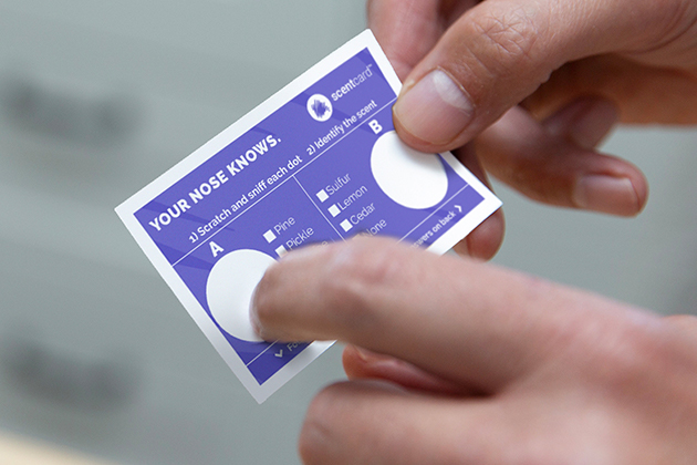 Scratch and sniff cards tests for loss of sense of smell